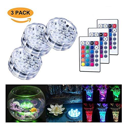 Tauch-LED-Lichter 10 RGB LED 16 Farben, die wasserdichte Unterwasserleuchten ändern Multi-Farbe batteriebetrieben mit IR-Fernbedienung für Aquarium, Vase Basis, Teich, Swimmingpool, Garten, Party