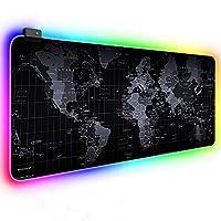 قاعدة ماوس كبيرة بالوان الفضاء اللوني ار جي بي لطاولة المكتب مضيئة ومناسبة للالعاب، للكمبيوتر وماك بوك ولوحة المفاتيح، مقاومة للماء ومضادة للانزلاق، مقاس 800 × 300 ملم