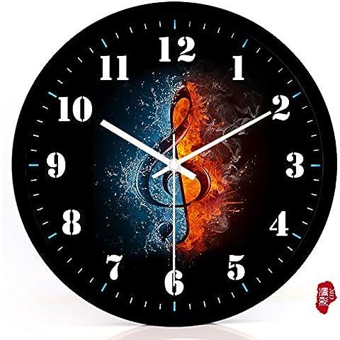nllpjmf casa e cucina orologi orologio da parete, Black metal bezel, 30,5 cm - Gold Diamond Bezel Orologio