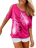 Issza Damen Sommer T-Shirt Kurzarm Feder Schulterfrei Bluse Casual Tops Lose T-Shirt, farbe Pink, Size M