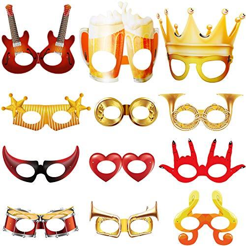 Blulu 14 Pezzi Maschere per Feste Divertenti Sfilata di Carnevale Maschere Divertenti Maschere della novità del Costume Divertente degli Occhiali Bomboniere Fantasia per Ragazzi in Costume
