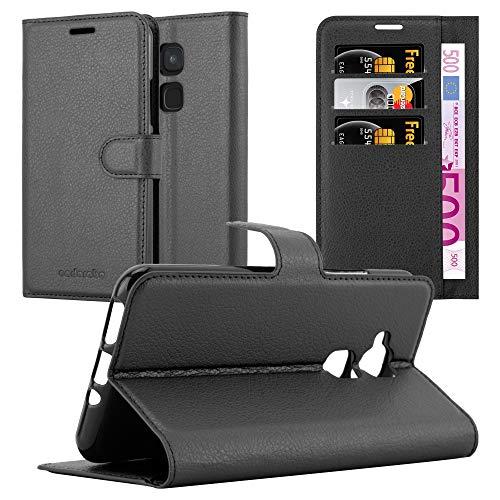 Cadorabo Hülle für BQ Aquaris V/Vs Plus - Hülle in Phantom SCHWARZ - Handyhülle mit Kartenfach und Standfunktion - Case Cover Schutzhülle Etui Tasche Book Klapp Style