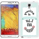 Funda carcasa para Samsung Galaxy Note 3 NEO diseño ilustración frase practica la felicidad todo el día borde blanco