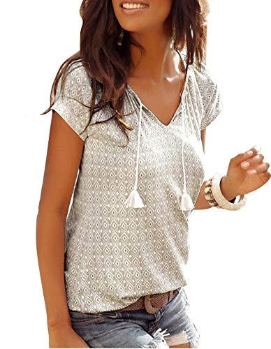 Yidarton T-Shirt Damen V-Ausschnitt Kurzarm Oberteile Sommer Allover Print Neckholder Blusen Shirt Tops (Grau, M)