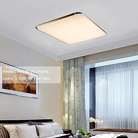Floureon 56W LED Plafonnier Carré 180-240V Ceiling Light Lampe de Plafond 36 Pouces avec Télécommande sans Fil Contrôler à Distance pour Salon Chambre Cuisine Salles de Conférence Hôtel Club Restaurant-Or
