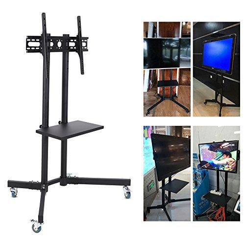 Mobile TV Cart Boden Verstellbarer Höhe Ständer Home Display Trolley Tablett Regal für 81,3cm-65