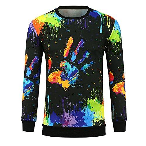 Herrenpullover Langarmpullover Bedruckte Sweatshirt Elecenty Digitaler 3D-Pullover Hemd Herren Buchstaben Pullover Top T-Shirt Bluse Rundhalspullover - Volcom-print-rucksack