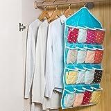 AB SALES 16 Pockets Fabric Clear over Door Hanging Bag Closet Storage Organizer (Multi Colour)