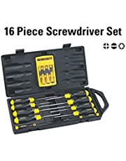 Stanley 68-0002C Cushion Grip Screwdriver Set (Yellow and Black, 16-Pieces)