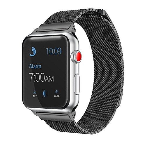 BK`s Milanaisearmband für Apple Watch 42mm [Milanaise] [Edelstahl Armband] mit [Magnet Verschluss] für Series 1/2 / 3 in Schwarz