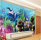 Rureng Custom Large - Scale Murals Underwater World Aquarium 3D Stereo Tropical Fish Tv Backdrop Non - Woven Wallpaper-200X140Cm