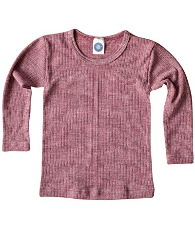 Cosilana, Kinder Unterhemd Langarm, 45% KBA Baumwolle, 35% kbT Wolle, 20% Seide (104, Weinrot meliert) (Kinder-seiden-unterwäsche)