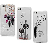Lanveni 3 × Coque de Portection pour Huawei P9 Lite - Housse Phone Case Bumper Antichoc en TPU Silicone Souple Ultra-Thin Transparent Gel Flexible Coloré - Pissenlit Plume Attrape Rêve