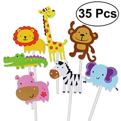 Yeahibaby 35pcs feliz cumpleaños pastel Topper tema animal decoraciones de la torta...