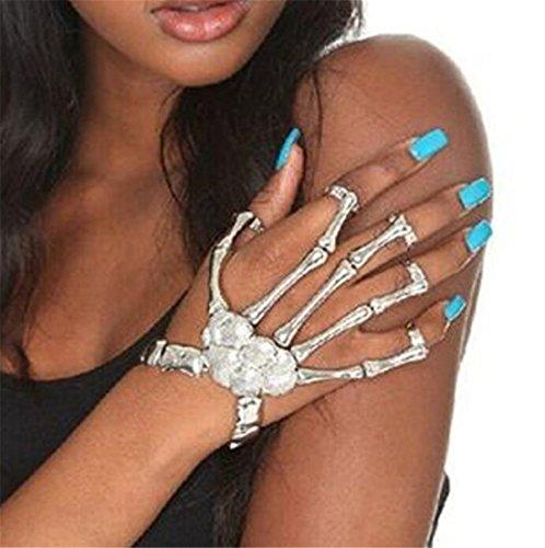 Madlst Punk Handkette Schädel Finger Skelett Modischer Unibody-Armband-Ring Sklaven Stulpe
