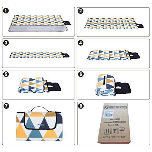 songmics 200 x 200 cm xxl picknickdecke fleece wrmeisoliert wasserdicht mit tragegriff gcm76s. Black Bedroom Furniture Sets. Home Design Ideas