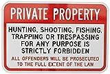 fhdnagfds Engineer Grade Reflektierende Zeichen, Legend Private Property Jagd Angeln verboten, 12Breit x 18hoch, schwarz/rot auf weiß