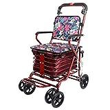 Flashing Chariot de magasinage à Quatre Roues pour Personnes âgées, Marcheur avec sièges à Roues, Chariot à roulettes Rabattable (Couleur : Red Flower)