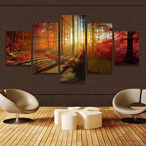 Tableau Sur Toile Abstrait 167 x 150 cm Paysage /Animaux 5 pcs Tableaux Photo Imprimé sur Toile de Paysage Naturel Art Décor Mural pour Maison (G)