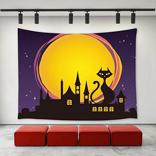 Halloween-Party, Happy Halloween Eve Moon Night Thema, Schwarze Katze sitzt auf dem Haus Dach, violetter Druck, Wandschmuck für Zuhause Dekoration Casual 60 x 40 Inch Mehrfarbig ()