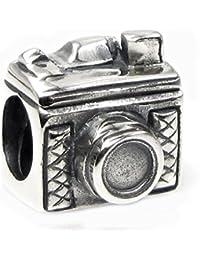 Abalorio en forma de cámara de plata de ley para pulsera