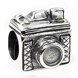 Fotokamera-Perle aus Sterlingsilber für Glücksbringer-Armbänder