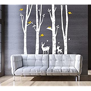 Large Forest Tree Wall Sticker for Living Room Kids Baby Nursery Wall Decoration Removable Vinyl White Family Tree Wall Art Decal 73x79