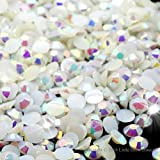Little Snow Direct® Pack of 1000 Top Quality Jelly AB Flat Back Rhinestones Diamante Gems Nail Art & Crafts (White Jelly AB, 2mm)