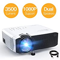 جهاز عرض فيديو محمول صغير APEMAN 3500 Lumen LED مع مكبرات صوت مزدوجة 45000 ساعة يدعم HD 1080P HDMI/VGA/Micro SD/AV/USB, Laptop/TV Box/Phone/PS4 للترفيه المنزلي