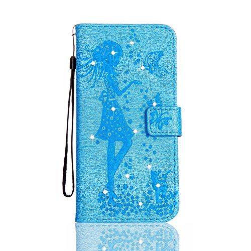 EKINHUI Case Cover Für Apple IPhone 5s SE Fall, geprägtes Mädchen Muster Strass Premium PU Leder Geldbörse Fall Flip Stand Fall Deckung mit Halter & Lanyard & Card Slots ( Color : Darkblue ) Blue