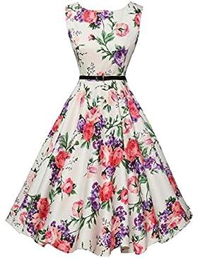 ♪ZEZKT♪50er-Jahre-Stil Vintage Kleid Retro Rockabilly Kleid Sommerkleid Petticoat Kleid Festliches Partykleider...