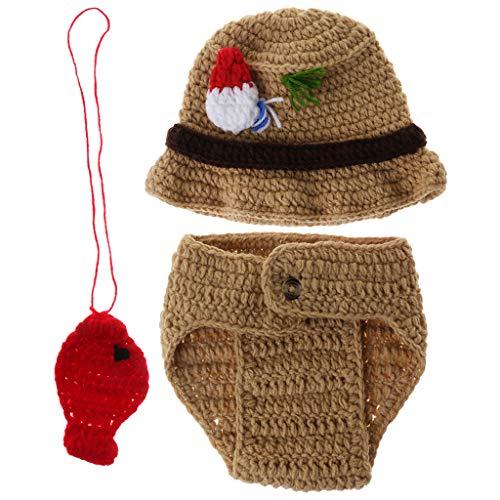 1 Set Baby-Kostüm, Fischerhut, Hose, Anhänger, gehäkelte Wolle, niedliche lustige Cosplay-Fotografie-Requisiten, Bekleidung für Neugeborene, Fotoaufnahme, hübsch