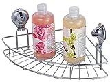 Tatkraft Sakura disparador de accesorio de ducha caddy de baño esquina con ventosas, cromo, plata, 36,9x 16,4x 24,5cm