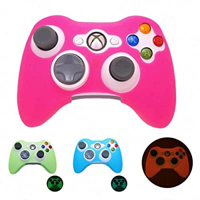 PINK GLOW in DARK Xbox 360 Game Controller Silicone Case Skin Protector Cover (Many Colors Available) Free shipping