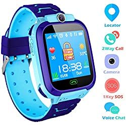 Reloj Niños Smartwatch LBS/GPS Pantalla Táctil Kids Safe Anti-Pérdida SOS para Android e iOS Smartphone (Azul)