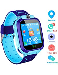 bhdlovely Kids Smart Watch Mobile Cell Phone, Child GPS/LBS Tracker SIM Touch Screen SOS Call Camera Voice Chatting For Boys Girls Birthday Compatible with iOS/Android(Blue-S9)