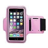 Fascia Sportiva Da Braccio Sweatproof Bracciale Per Corsa & Esercizi Con Supporto Chiave E Riflettente Armband Per iPhone 6, 6S, Samsung Pink 5.5'