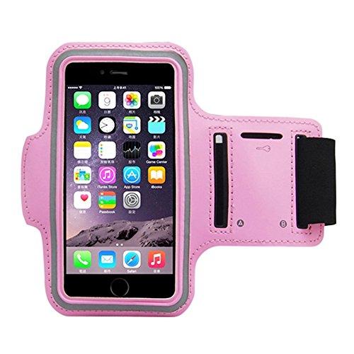 Fascia Sportiva Da Braccio Sweatproof Bracciale Per Corsa & Esercizi Con Supporto Chiave E Riflettente Armband Per iPhone 6, 6S, Samsung Pink