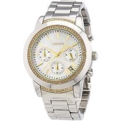 DKNY Women's Quartz Watch Tribeca Chrono NY8588 with Metal Strap