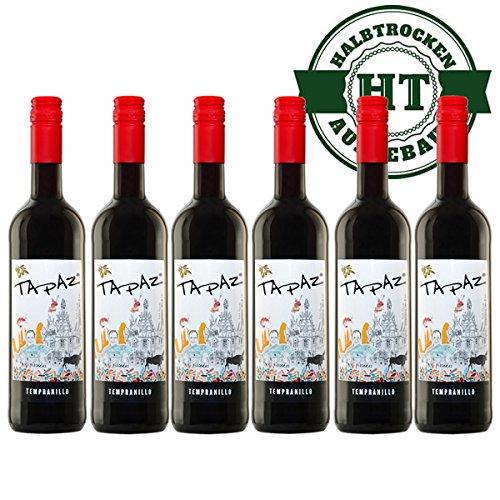 Rotwein Spanien Tapaz Tempranillo halbtrocken (6x0,75l) - VERSANDKOSTENFREI -