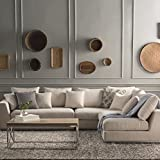 Lifestyle Solutions Solid Wood Fabric L Shape Sofa Pack (Off-White)