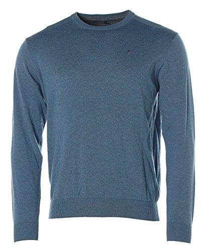 Kitaro Herren Basic Pullover Strick Rundhals Blue Melange