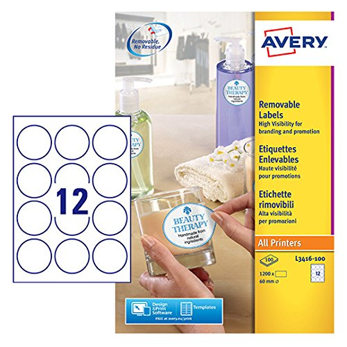 AVERY Zweckform L3416-100 runde Etiketten (zum Bedrucken, selbstklebend, Ø 60 mm, A4, 1.200 Aufkleber auf 100 Blatt, Klebepunkte zum Kennzeichnen von Unterlagen, Produkten) weiß (Blatt-produkte)