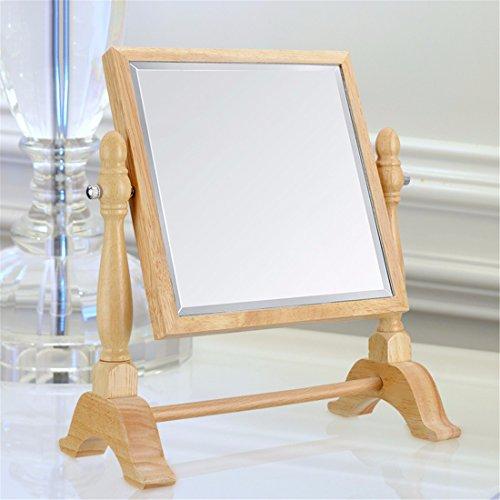 STAZSX Desktop Make-up-Spiegel aus Holz große doppelseitige Kosmetikspiegel Continental princess Spiegel Kosmetikspiegel Spiegel, HD-square Doppelseitige HD-EBENE SPIEGEL (Löwen Make Up)