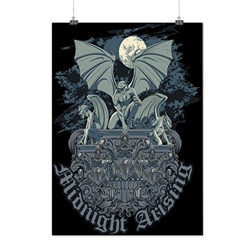 Kostüm Asyl Joker (Mitternacht Dämon Horror Wasserspeier Mythos Mattes/Glänzende Plakat A3 (42cm x 30cm) |)