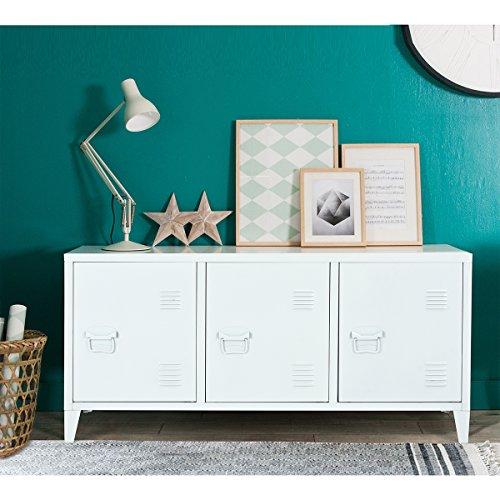 Büroschrank/Stahl Lagerschrank/Aktenschränke/Schreibtischschrank/Aufbewahrungsschrank/Werkzeugschrank mit 2 Böden & 3 Türen/Niedriger Schrank für Büro/Schlafzimmer/Wohnzimmer(Weiß 120×40×58cm) -