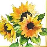 Ambiente 20 St. Servietten Papierservietten 3-lagig Sonnenblumen Girasoli Herbst Weiss Gelb 25 x 25 cm