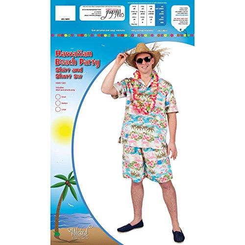 Imagen de disfraz  partido hawaiano de luau para hombre individuo verano de la playa barbacoa camisa y pantalones cortos de lujo del traje de vestido floral rosado. talla grande alternativa