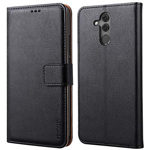 Peakally Cover per Huawei Mate 20 Lite, Flip Caso in PU Pelle Premium Portafoglio Custodia per Huawei Mate 20 Lite, [Kickstand] [Slot per Schede] [Chiusura Magnetica]-Nero