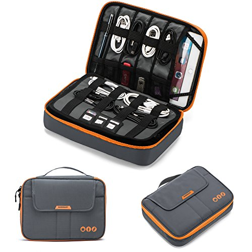 BAGSMART Elektronik Zubehör Tasche, Elektronische Tasche Reise Doppelte Schichte für Ladegerät, Kabel, iPad, iPad Air, Tablet bis zu 9,7 Zoll, Adapter, Maus, SD Karten(Grau)